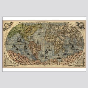 1565 World Map Large Poster