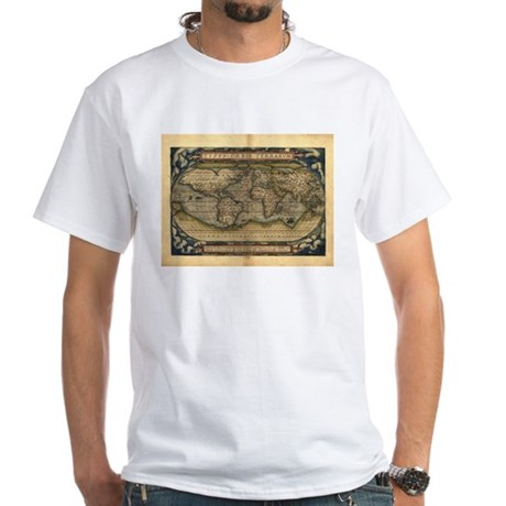 1570 World Map White T-Shirt