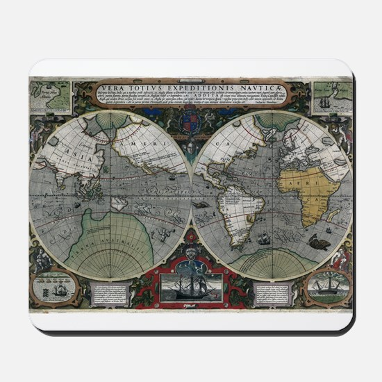 1595 World Map Mousepad