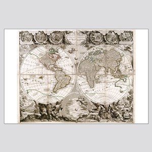 1708 World Map Large Poster