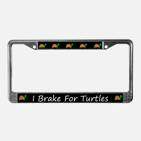 Black I Brake For Turtles License Plate Frames