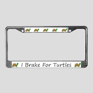 White I Brake For Turtles License Plate Frames