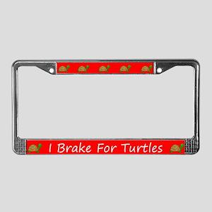 Red I Brake For Turtles License Plate Frames