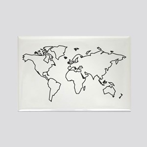 World map Rectangle Magnet