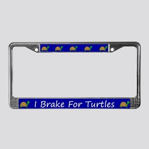 Blue I Brake For Turtles License Plate Frames