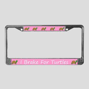 Pink I Brake For Turtles License Plate Frames