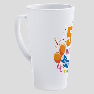 55th Birthday Balloon Banner Confe 17 oz Latte Mug