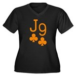Jack Nine Orange Women's Plus Size V-Neck Dark T-S