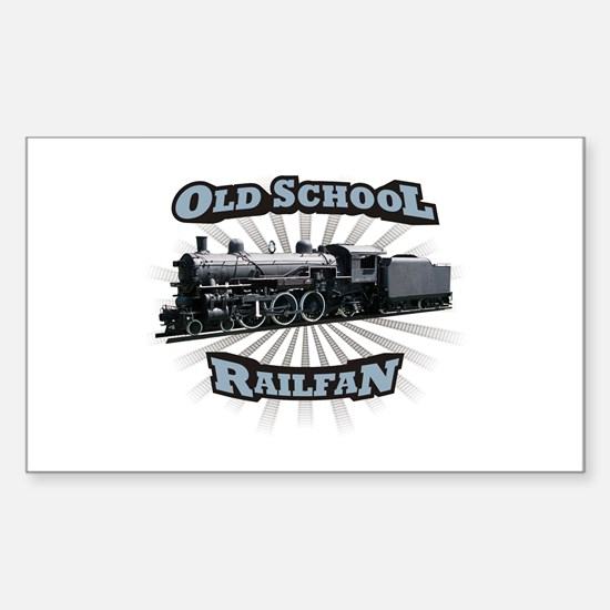 Old School Railfan Rectangle Decal