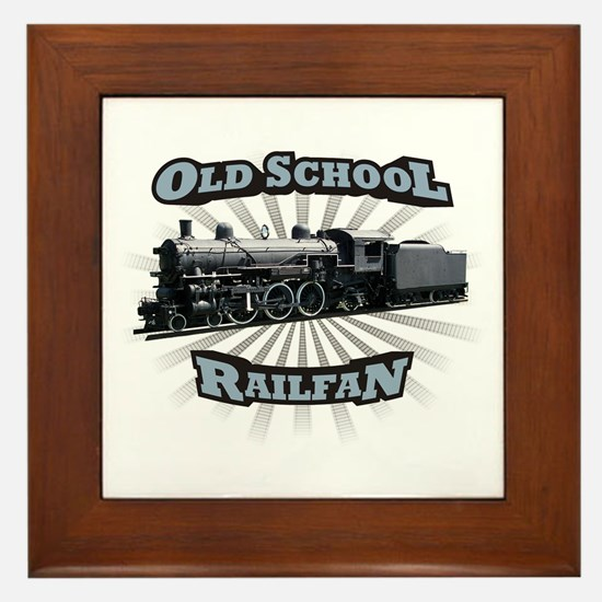 Old School Railfan Framed Tile