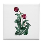 Ruby Red Floral Art Tile Coaster