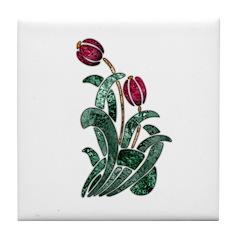 Ruby Red Floral Art Tile Coaster