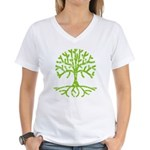 Distressed Tree III Women's V-Neck T-Shirt