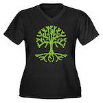 Distressed Tree III Women's Plus Size V-Neck Dark