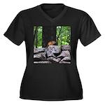 Cute Chipmunk Women's Plus Size V-Neck Dark T-Shir
