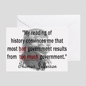 Thomas Jefferson Bad Governme Greeting Cards (Pk o
