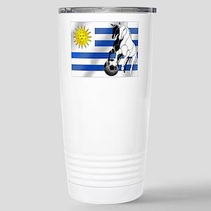 Uruguay Soccer Flag 16 oz Stainless Steel Travel M