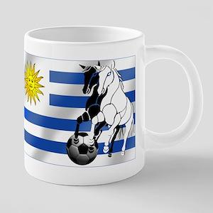 Uruguay Soccer Flag 20 oz Ceramic Mega Mug