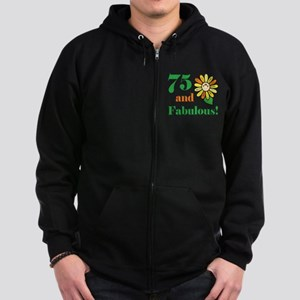 Fabulous 75th Birthday Zip Hoodie (dark)