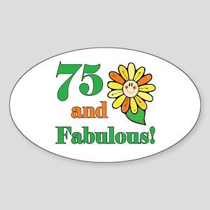 Fabulous 75th Birthday Oval Sticker