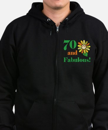 Fabulous 70th Birthday Zip Hoodie (dark)