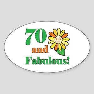 Fabulous 70th Birthday Oval Sticker
