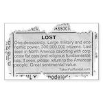 Lost Democracy. Please return Sticker (Rectangular