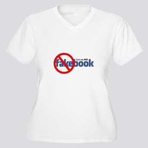 """Just Say NO"" Fakebook Women's Plus Size V-Neck T-"