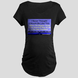 """Our Biggest Threat"" Maternity Dark T-Shirt"