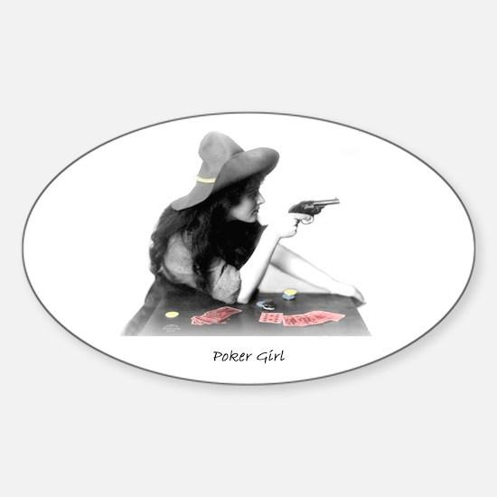 poker girl Oval Decal