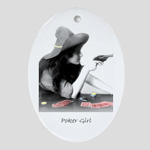 poker girl Oval Ornament