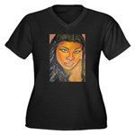Black Elegance Plus Size V-Neck Dark T-Shirt