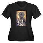 Dark Sun Women's Plus Size V-Neck Dark T-Shirt