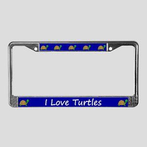 Blue I Love Turtles License Plate Frames