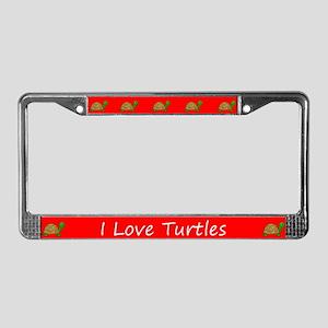 Red I Love Turtles License Plate Frames