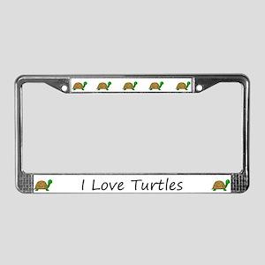 White I Love Turtles License Plate Frames