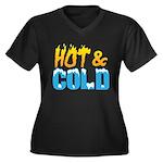 Hot & Cold Women's Plus Size V-Neck Dark T-Shirt