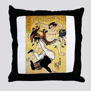 Foreigner and Wrestler at Yokohama Throw Pillow