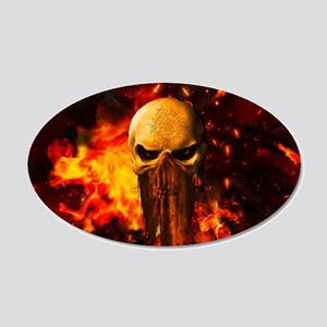 Awesome skull with fire on the background Wall Dec