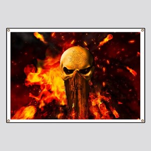 Awesome skull with fire on the background Banner