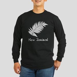 New Zealand Leaves Long Sleeve Dark T-Shirt