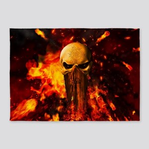 Awesome skull with fire on the background 5'x7'Are