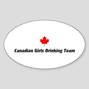 Canadian Girls Drinking Team Oval Sticker
