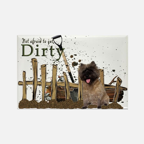 Cairn Terrier getting dirty Rectangle Magnet