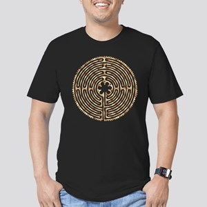 Chartres Labyrinth Pearl Men's Fitted T-Shirt (dar