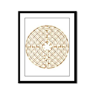 Chartres Labyrinth Pearl Framed Panel Print