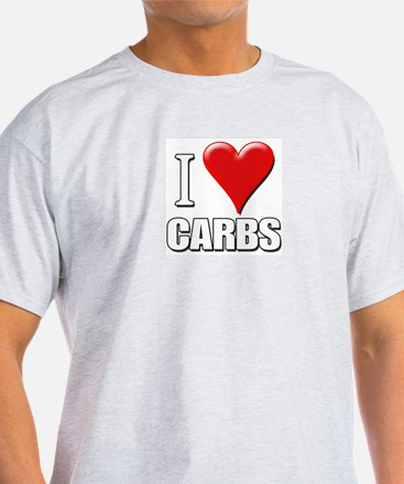 I Love (Heart) Carbs Ash Grey T-Shirt