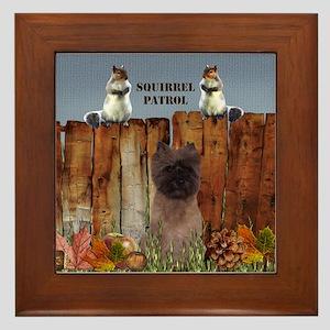 Cairn Terrier Squirrels Framed Tile