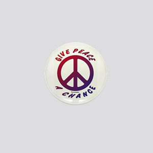 Red & Blue Give Peace A Chance Mini Button