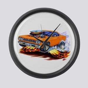 Roadrunner Orange Car Large Wall Clock